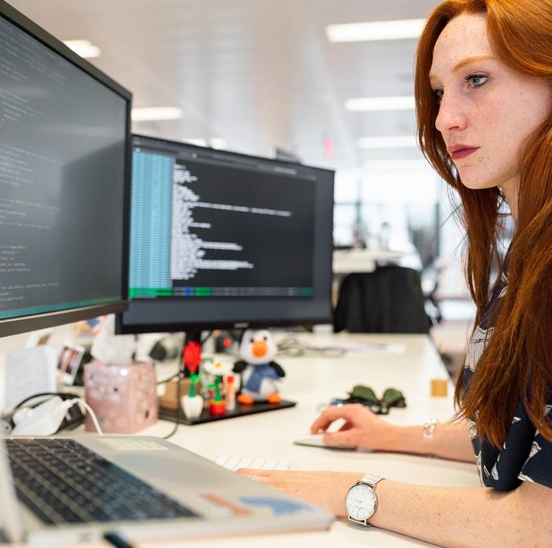 Woman Coding Software