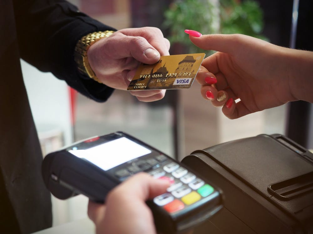Customer pay bill with credit debit card