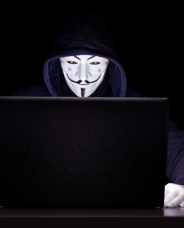 hacker holding white mask looking at laptop computer