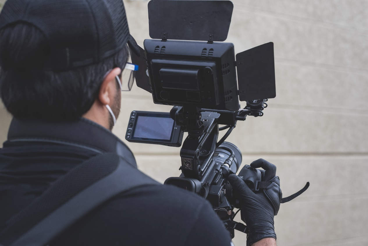 crew team working and set of camera equipment in studio