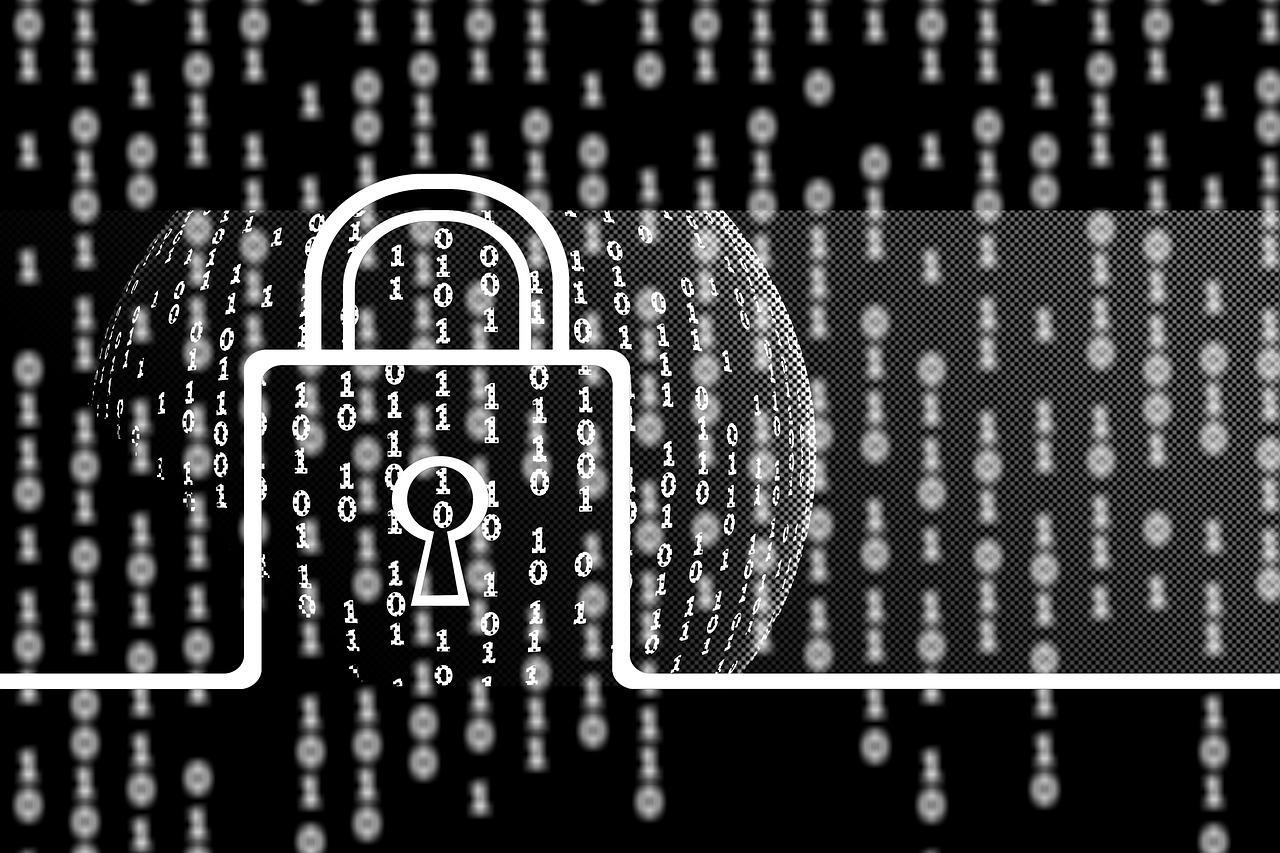 binary code numbers with padlock icon