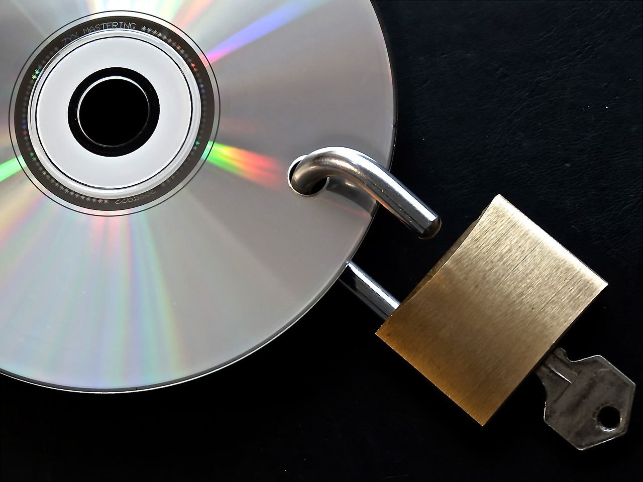 CD with an open padlock