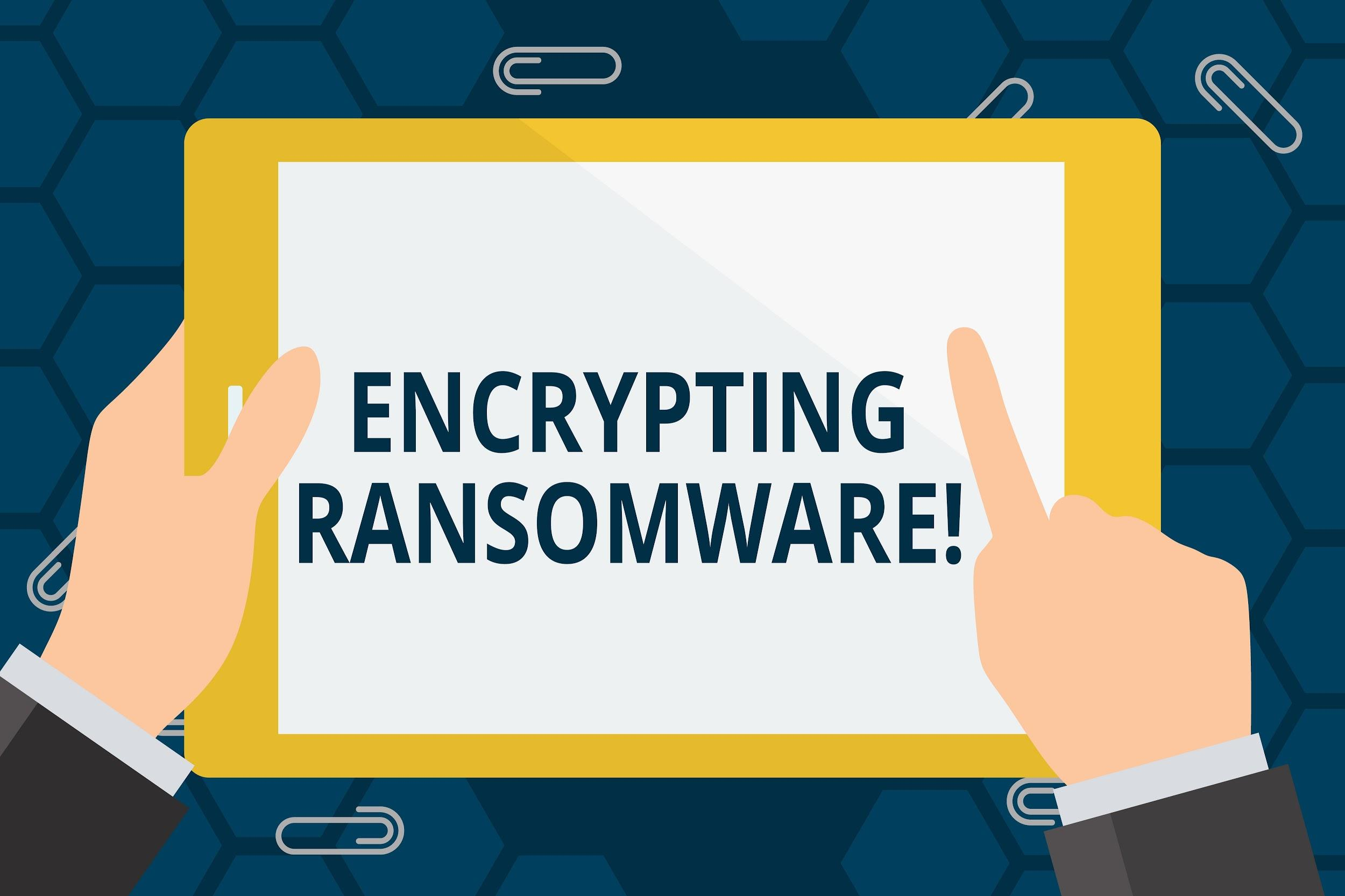 Conceptual hand writing showing Encrypting Ransomware
